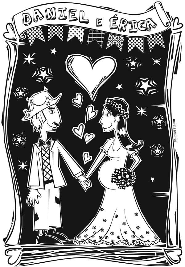 Xilogravura Casamento