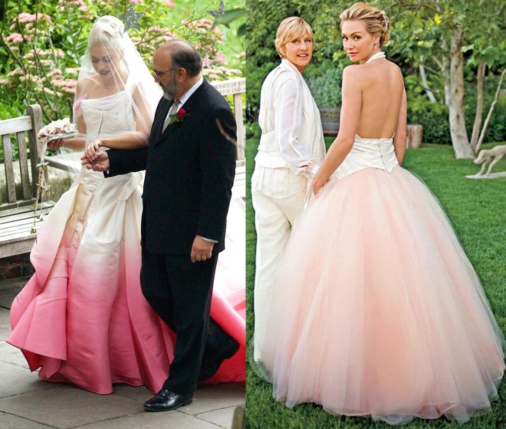 gwen-stefani-and-portia-derossi-pink-wedding-dress-1024x869